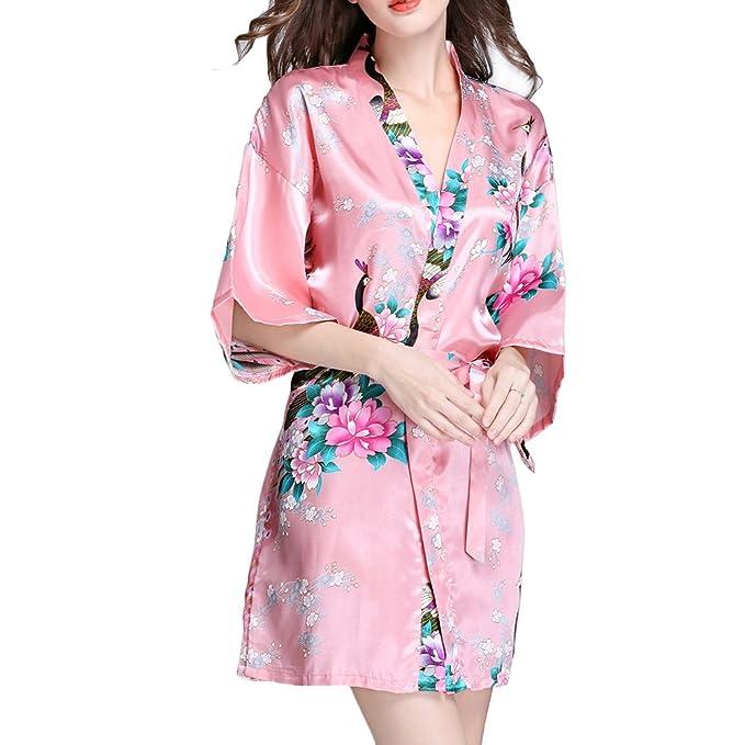TIAQUE Mujer Sexy Kimono Seda Lencería Estampado Albornoces Pijamas (S, Rojo)