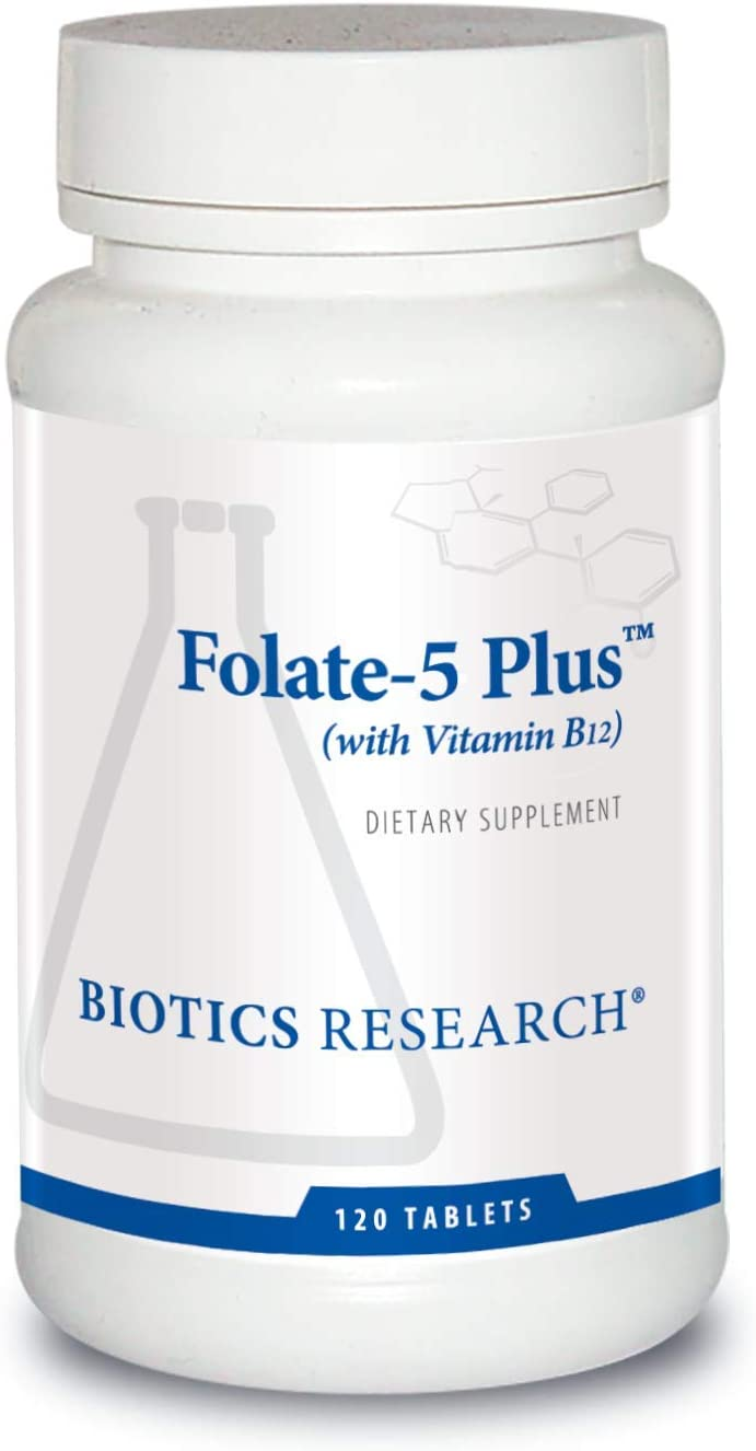 Biotics Research Folate-5 Plus – High Potency Folate with B12. Methyl Support. 5 mg Natural Whole Food Form of Folate, 18 mcg B12, Pregnancy Nutrition, Energy Support. Healthy Skin. 120 Tablets