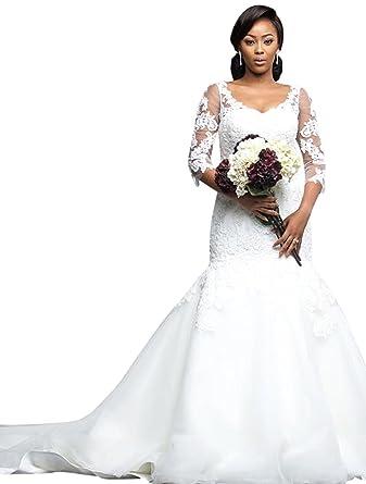 Quarter Sleeve Mermaid Wedding Dresses