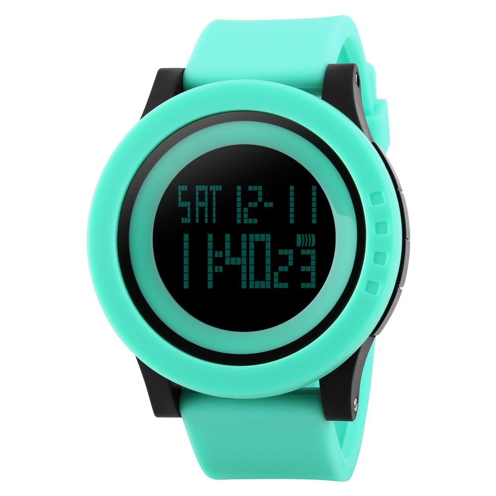 TONSHEN 164FT 50M Water Resistant Silicone Strap Large Face LCD Quartz Digital Electronic 12H/24H Military Multifunction Blacklight Stopwatch Sport Watch , Green