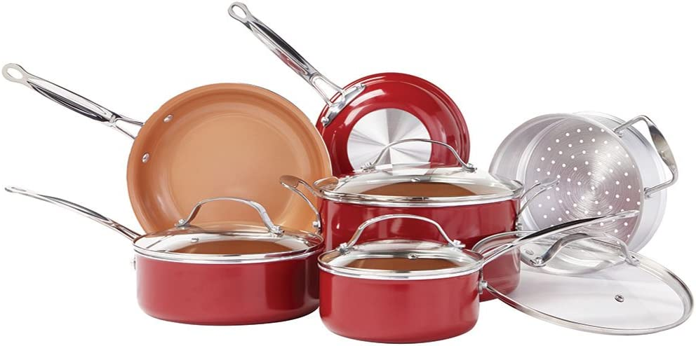 BulbHead Red Copper 10 PC Copper-Infused Ceramic Non-Stick Cookware Set - Red copper pan seasoning instructions