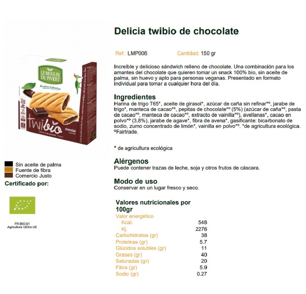 Amazon.com: Le Moulin Du Pivert Organic Twibio Chocolate 150 ...