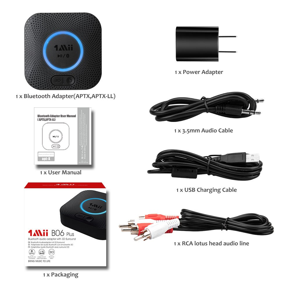 1Mii B06 Plus Bluetooth Receiver, HIFI Wireless Audio Adapter, Bluetooth 4.2 Receiver with 3D Surround aptX Low Latency for Home Music Streaming Stereo System (Upgraded With Power Adapter) by 1mii (Image #7)