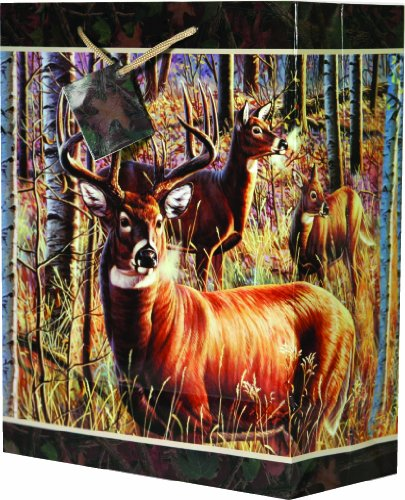 River's Edge Deer Design Gift Bag, Medium/10 x 13 x (River Design)