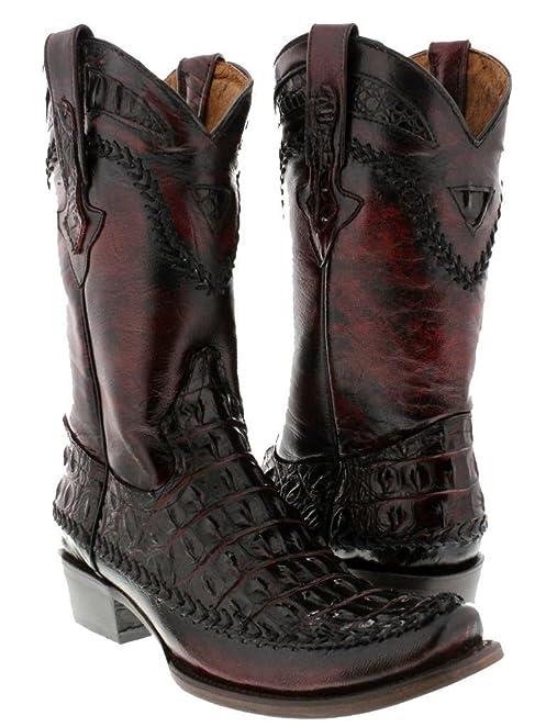 Men's Cherry Rocker Crocodile Back Cut Leather Cowboy Boots