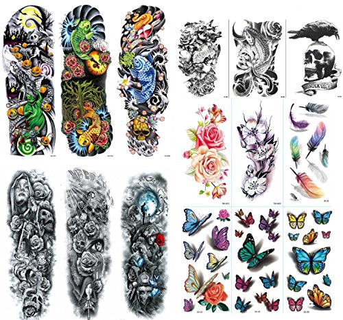 NutritionBizz Extra Large Full Arm Temporary Tattoos with 3D Tattoos for Men Women Teen Fake Tattoo 15 Sheets Butterfly Feather Flower Waterproof Stickers for Arms Shoulders Chest & -