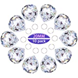 Crystalsuncatcher 10pcs Crystal Glass Ball Chandelier Prisms Pendants Parts Rainbow Crystal Suncatcher DIY Parts (20mm…