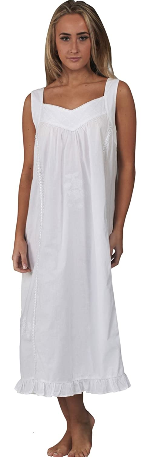 Cottagecore Clothing, Soft Aesthetic Cotton Victorian Sleeveless Nightgown 7 Sizes The 1 for U Nancy 100% $39.99 AT vintagedancer.com