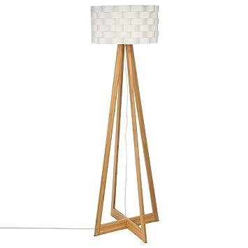 Lampadaire Au Style Epure Pied En Bambou Et Abat Jour Tresse
