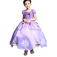 Little Girls Princess Sofia Costume Dress up Cosplay Fancy Party Dress (2T/3T,100)