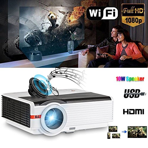 200'' LCD LED HD Android Projector Wifi 4200 Lumen WXGA 3D, Multimedia Home Cinema Theater Video Projector 1080P Support HDMI VGA USB SD AV TV for Movie TV Video Game Home Outdoor Entertainment by CAIWEI