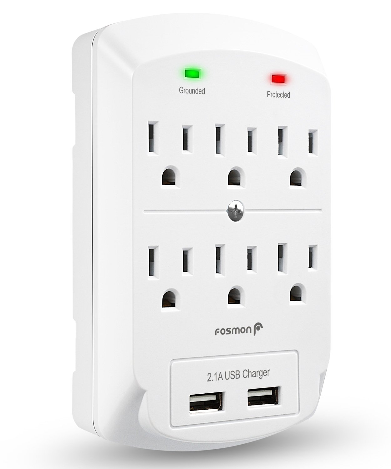 Fosmon 6 Outlet Wall Adapter Tap with USB Charger, 3-Prong Wall Mount Outlet Surge Protector, 1875 Watts Indoor 2 Dual 2.1A USB Port, ETL Listed - White