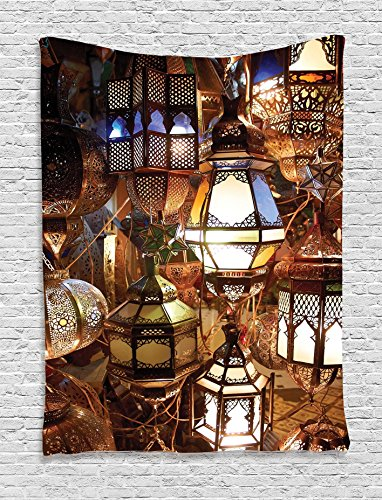 Hanging Sanctuary Lamp (Moroccan Tapestry Decor by Ambesonne, Arabic Lamps and Lanterns Souk Evening Culture Historical Picture Pattern, Bedroom Living Room Dorm Wall Hanging Tapestry, Blue Green Copper Yelow)