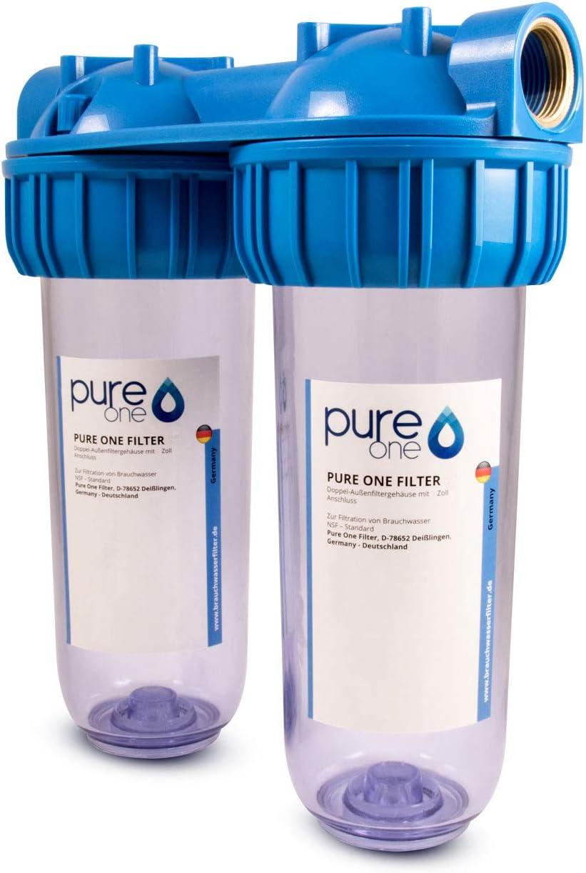 2 Stufen Hausfilter Wasser Carbon Kohlen Pumpen-Filter Vorfilter Anschluss-3//4