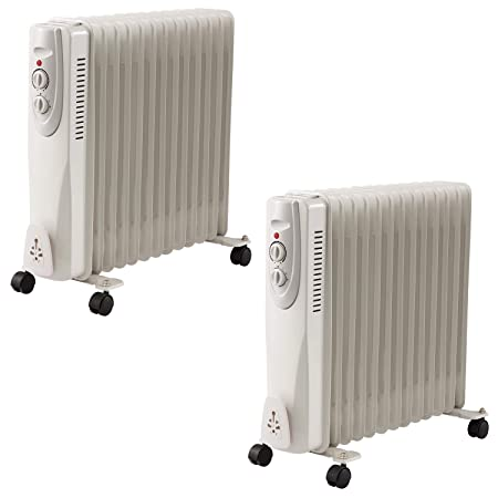09b81ca5747 Glowmaster UK 13 Fin 2500w Oil Filled Radiator 2.5k Portable Heater 3 Heat  Thermostat Settings (2)  Amazon.co.uk  Kitchen   Home