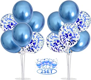 TONIFUL 2 Set Table Centerpiece Balloons Stand Kit for Boy Include 16 Blue Latex Confetti Balloons Birthday Table Decorations for,Birthday,Wedding,Graduation,Boy Baby Shower,Table Party Decorations.