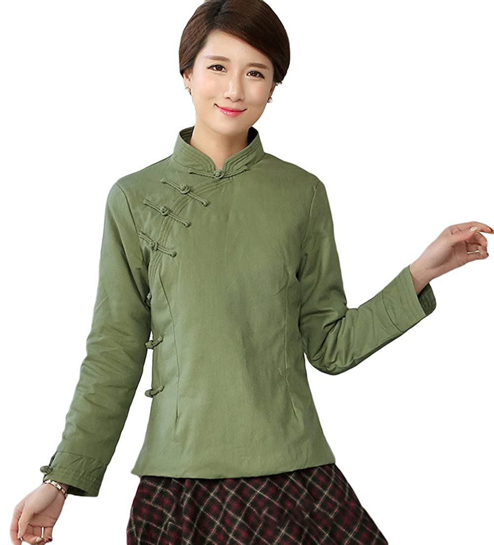 1f59829c1 Women's Chinese Qipao Green Padded Cotton Jacket - DeluxeAdultCostumes.com