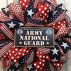"""US Army National Guard Wreath for front door with deco mesh & ribbon, ARNG, 22"""" 46"""