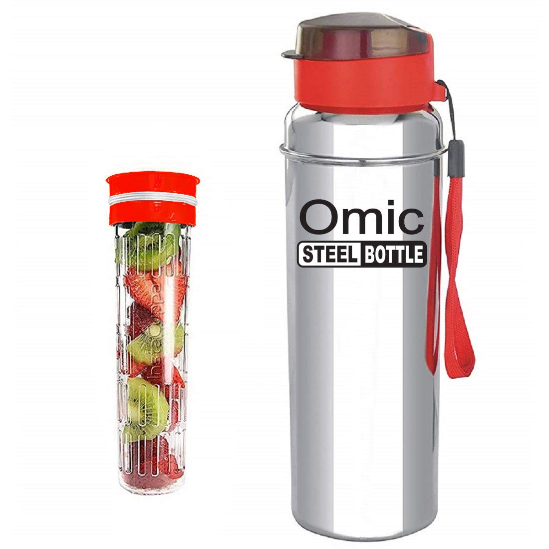 Omic Stainless Steel Fruit Infuser Water Bottle, Stainless Steel Bottle with Infusion Unit, (Color May Be Vary) (650)