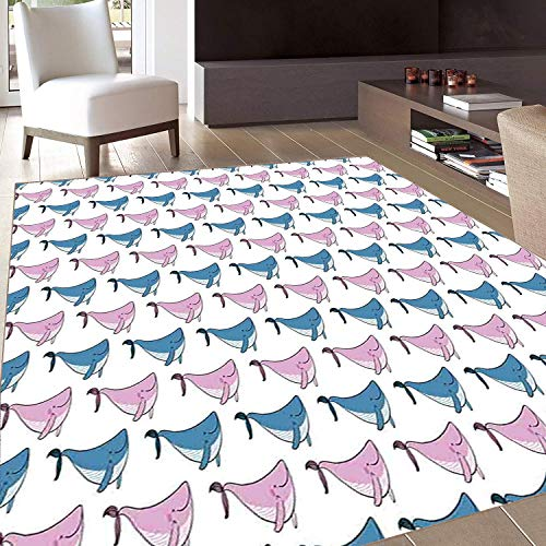 Rug,FloorMatRug,Whale,AreaRug,Sea Animals Pattern with Smiling Fish Swimming Happily Doodle Style Art,Home mat,3'x4'Blue Lilac and White,RubberNonSlip,Indoor/FrontDoor/KitchenandLivingRoom/Be