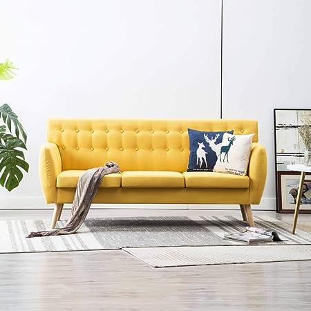 Amarillo UnfadeMemory Sof/á Cama de Salon con Cojines,Decoraci/ón de Hogar,Dise/ño Moderno,Patas de Metal,Tapizado de Tela