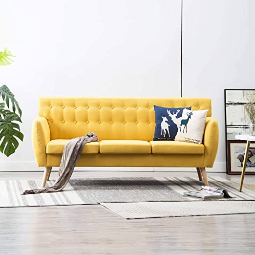FESTNIGHT Sofá de 3 Plazas Sofas Salon Tapizado de Tela 172x70x82 cm Amarillo