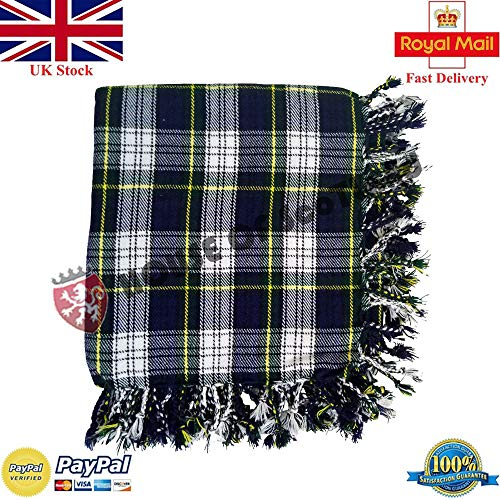 House Of Scotland Scottish Highland Kilt Fly Plaids 48''x 48'Various Tartans Purled Fringe Acrylic Wool (Dress Gordon)