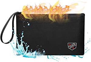XIAODUNFireproof Money Bag,Bank Bag Fireproof and Waterproof Cash Bag with Zipper Closure, Fireproof Safe Storage Bag Envelope, Suitable for documents, Bank Inventory, Passport (Black)