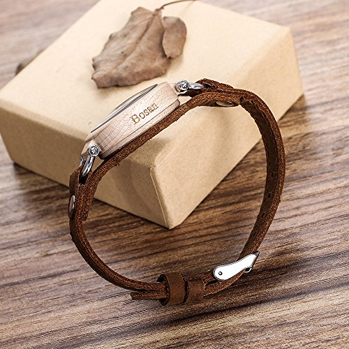 Wood Watch,Bosan Women Stylish CD Line Small Face Unique Design Wooden Wrist Watch with Light Genuine Leather Strap(Maple) by Bosan (Image #2)