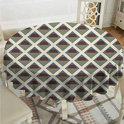 XXANS Washable Round Tablecloth,Retro,Pop Art Style Funky Half Circles Geometric Diamond Stripes Old Fashioned Graphic,for Events Party Restaurant Dining Table Cover,40 INCH,Multicolor