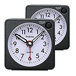 Ultra Small, Peakeep Battery Travel Alarm Clock with Snooze and Light, Silent with No Ticking Analog Quartz(Black-2Pcs)