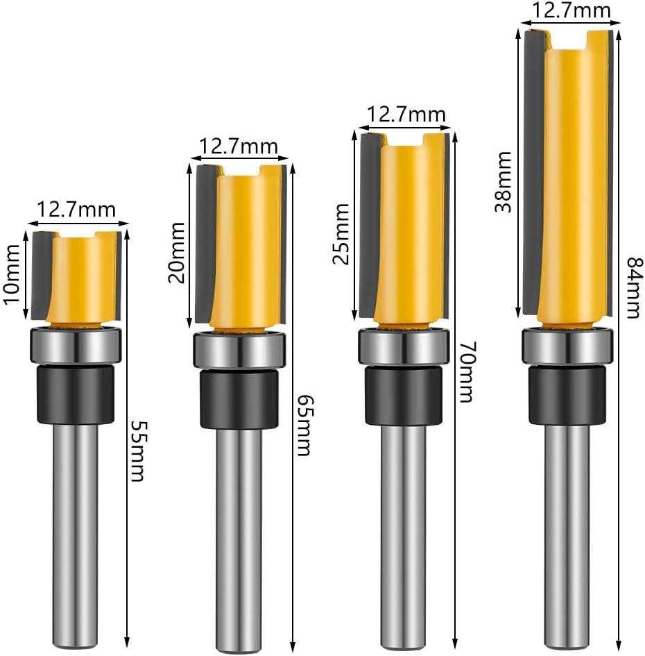 fresa per legno fresa verticale da 1//4 tiopeia 4 frese per legno con codolo da 12,7 mm