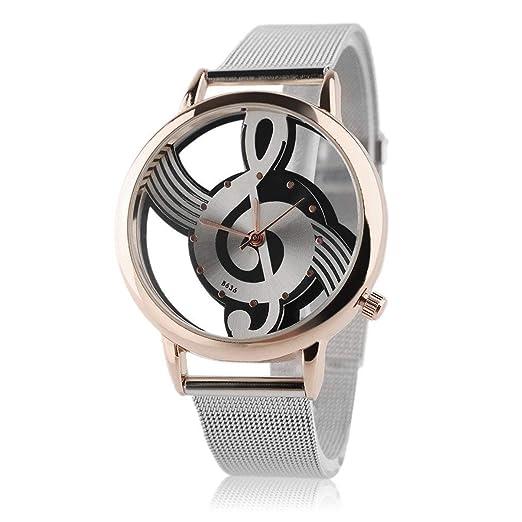 Music Note Design Relojes Unisex Correa de Acero Inoxidable Reloj de Pulsera de Cuarzo analógico 3-ATM Dial de Cristal Impermeable: Amazon.es: Relojes