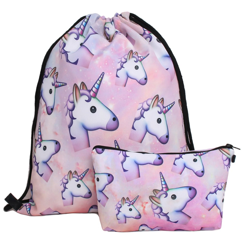 Waterproof Drawstring Bag for Girls, Print Backpack Travel Gym Bags(Unicorn, SH90)