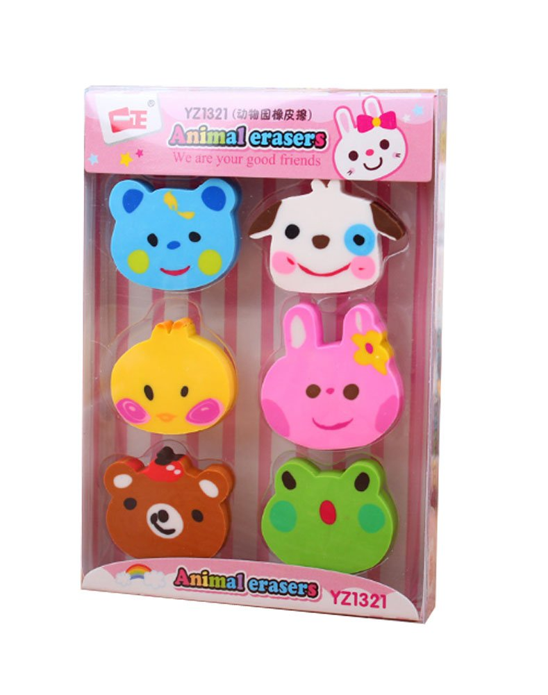Cute and Funny Animal Modeling Pencil Erasers- Great as Prizes 4Pcs