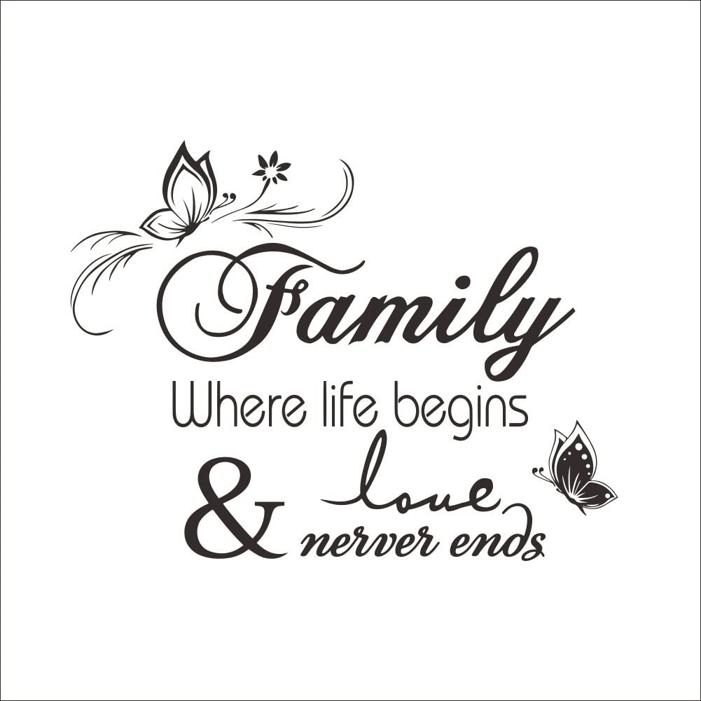 Family Where Life Begins Love Never Ends Quotes Wall Decal Vinyl Removable Wall Sticker for Home Decor