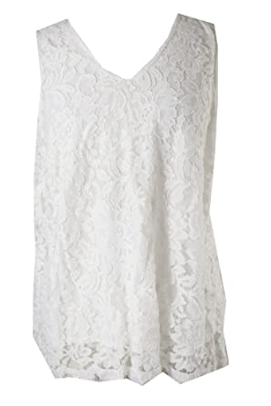 3f4b6c9e0b968 Image Unavailable. Image not available for. Color  Alfani White Floral-Lace  Sleeveless Top