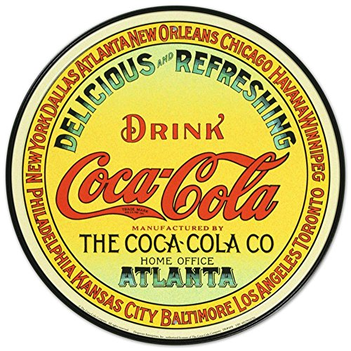 Fountain Tin Sign (Coca Cola Coke Delicious Refreshing Round Retro Vintage Tin Sign)