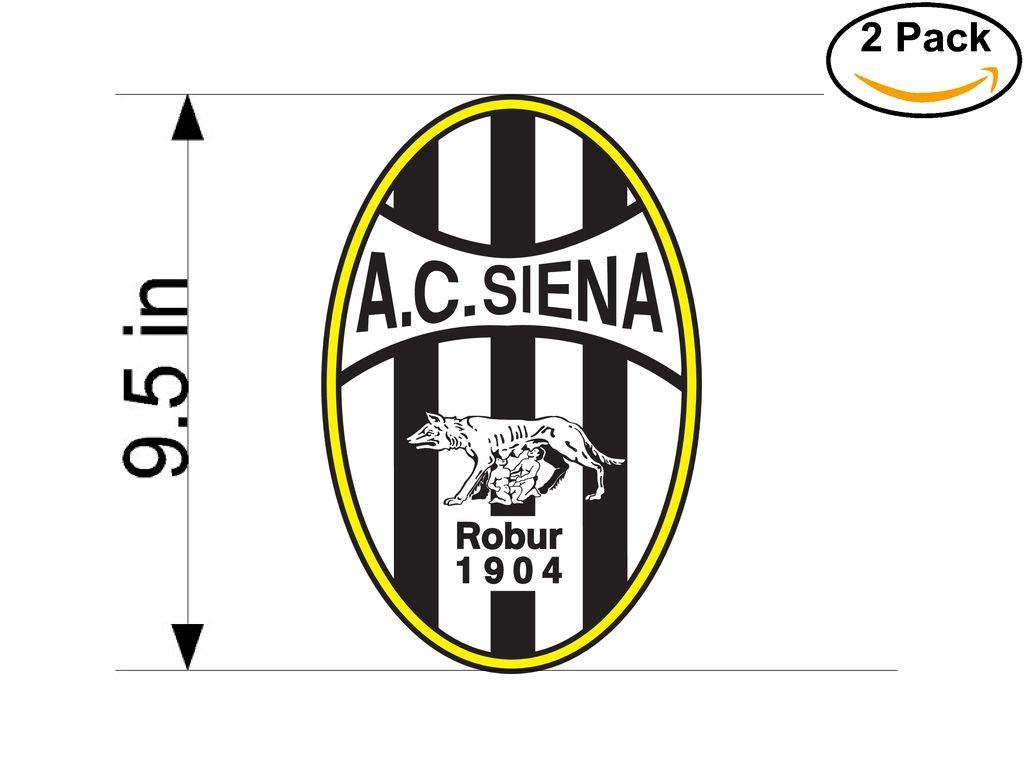 A C Siena Robur 1904 Italy Soccer Football Club FC 2 Stickers Car Bumper Window Sticker Decal Huge 9.5 inches