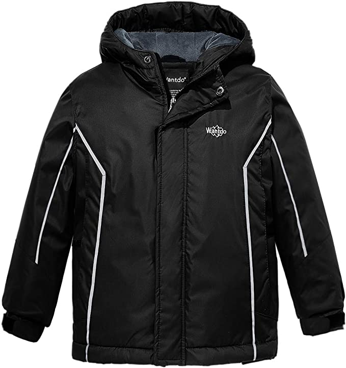 Wantdo Boy's Insulated Ski Jacket Windproof Rainwear Warm Anorak Black,6-7