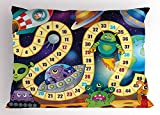 Lunarable Board Game Pillow Sham, Outer Space Creatures Sci-Fi Rocket Cosmonaut Monsters UFOs Earth Composition, Decorative Standard Size Printed Pillowcase, 26 X 20 inches, Multicolor