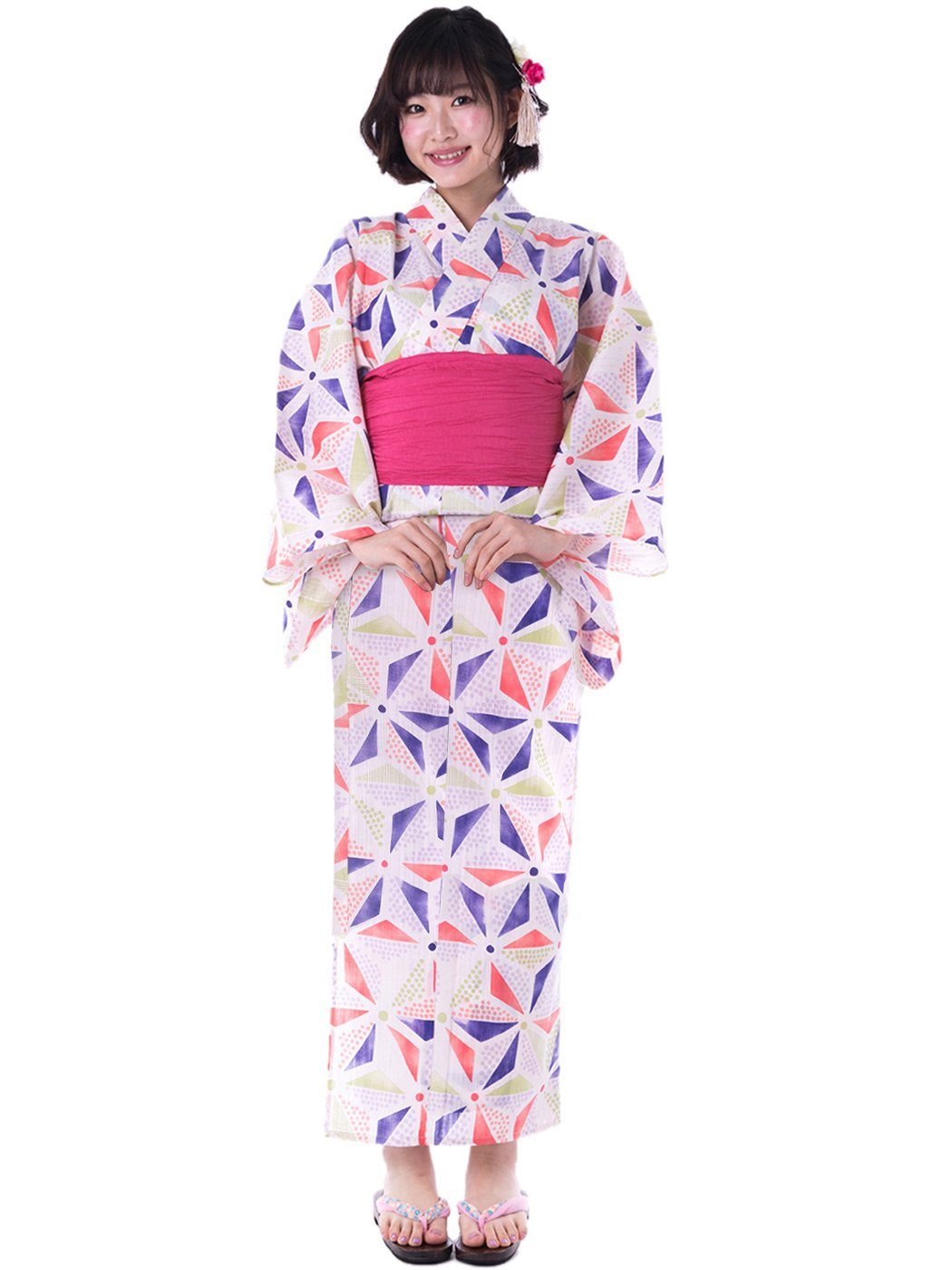 KYOETSU Women's Cute Yukata 3 Piece Set (Yukata/Obi/Geta sandals) (XX-Small (Japan Size S), FM-6(Obi Cherry))
