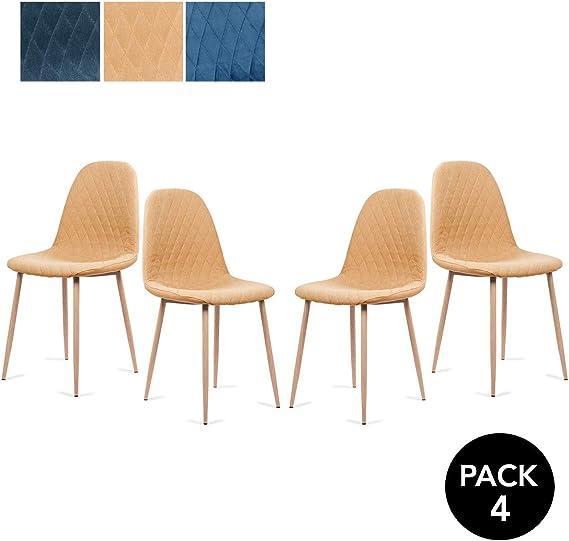 Mc Haus YRSA - Pack 4 sillas comedor diseño nórdico color mostaza ...