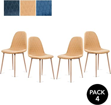 Mc Haus YRSA - Pack 4 sillas comedor diseño nórdico color mostaza ...