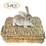 Grass Mat Woven Bed Mat for Small Animal Bunny Bedding Nest Chew Toy Bed Play Toy for Guinea Pig Parrot Rabbit Bunny Hamster Rat 5 Grass Mats