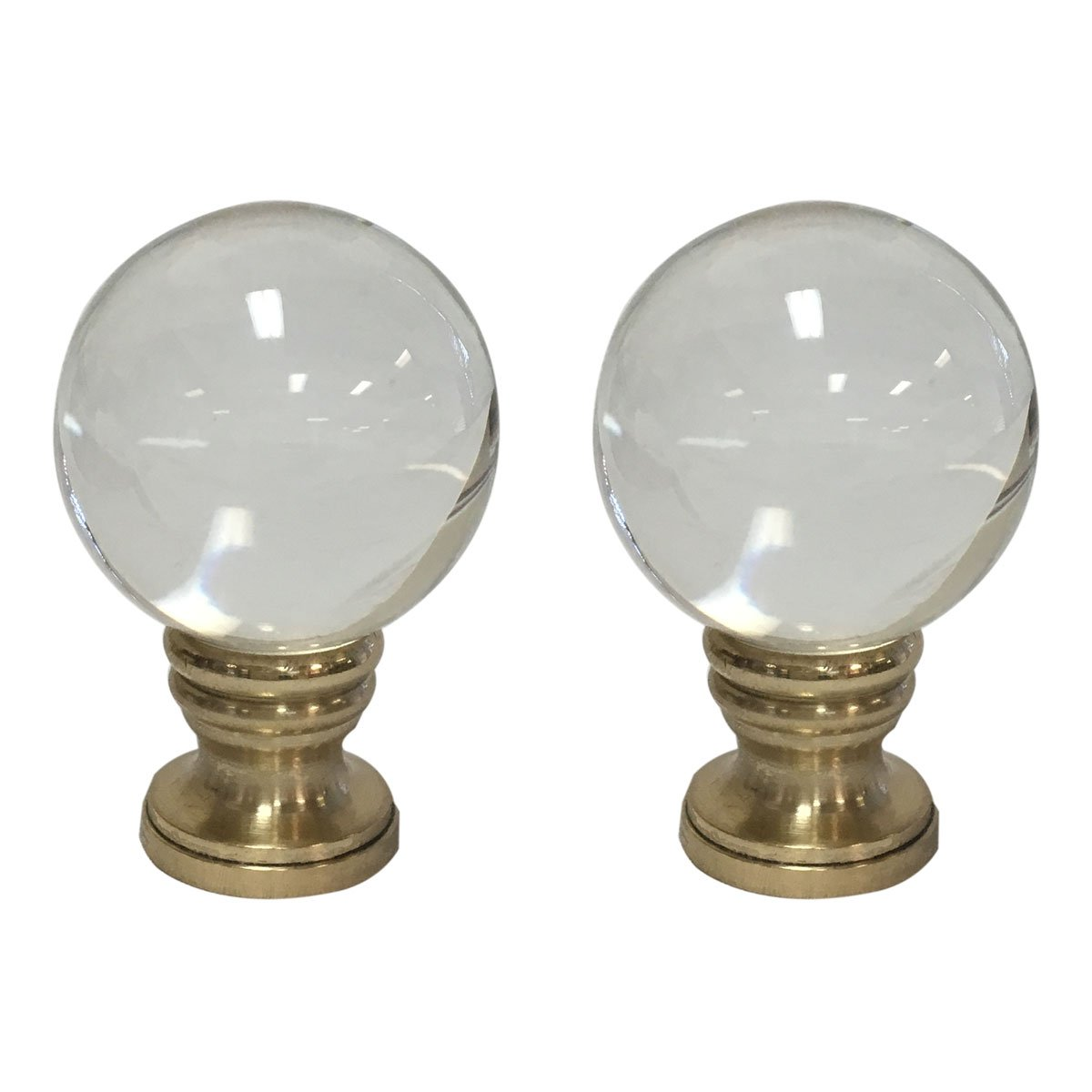 Royal Designs Clear Crystal Ball Lamp Finial with Polished Brass Base - Set of 2