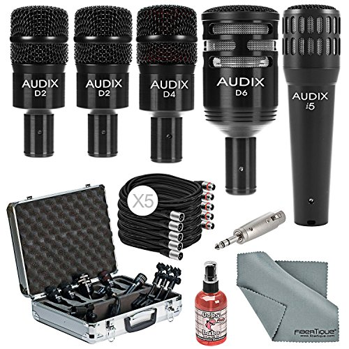 Audix DP5A Complete Drum Microphone Package Bundle with Cables, Adapter, Mic Sanitizer and Fibertique Cloth by Photo Savings