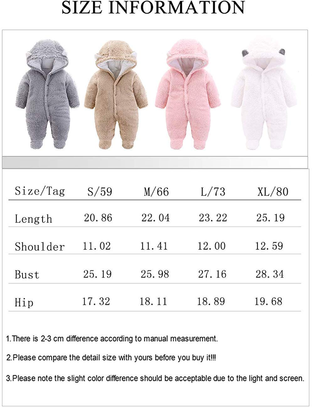 Khaki,0-3 M FIRENGOLI Unisex Baby Cloth Winter Coats Cute Newborn Infant Jumpsuit Snowsuit Bodysuits