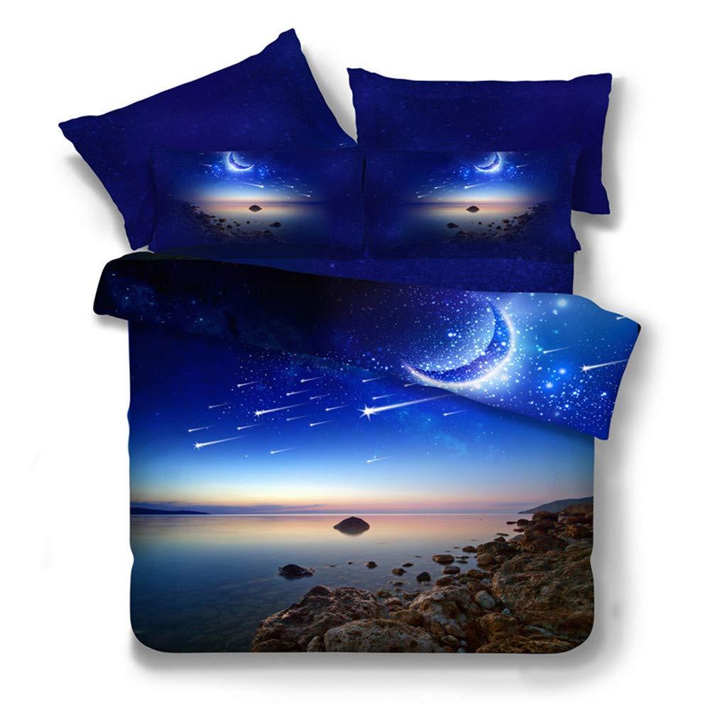 Romantique Mystère Galaxie Étoile Housse de Couette avec 1 Pièce Taie d'oreiller, 140x200cm 1 Personne Cosmos Nébuleuse 3D Ensemble de Literie pour Homme Femme Garçon Fille (Galaxie Étoile 1)