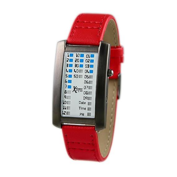 Xtress Reloj Binario para Hombre de Cuarzo con Correa en Cuero XDA1030R: Amazon.es: Relojes